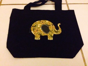 elephant, iron on, bag
