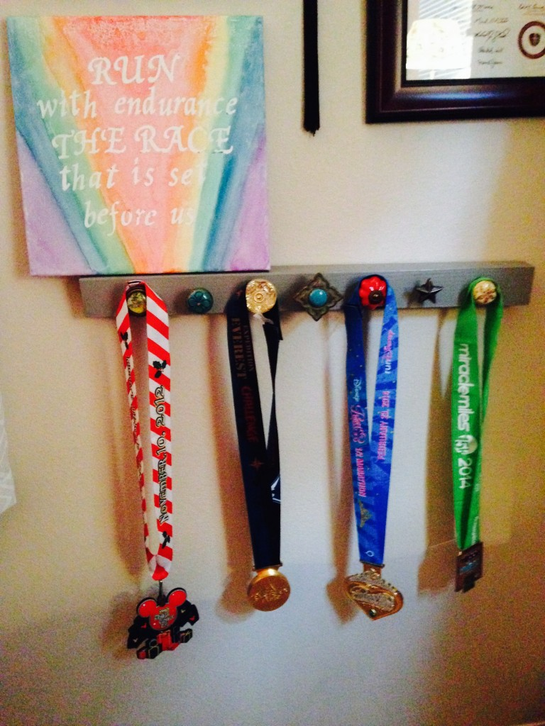 wall of accomplishment, medals, run, running, finish line