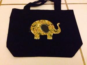 elephant, iron on, bag