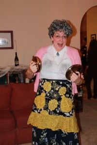 A cluster of Goodwill finds to recreate Mrs. Doubtfire!